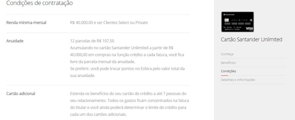 Condições para solicitar o seu Santander Unlimited