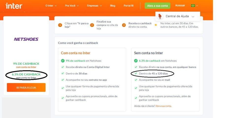 Cashback do Banco Inter para não correntistas
